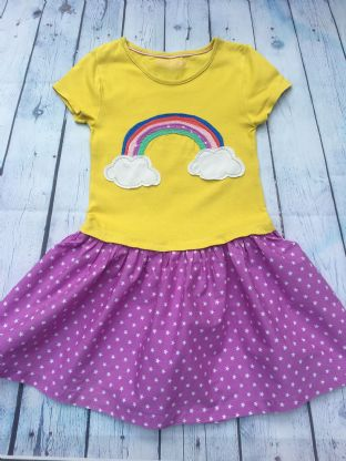 Mini Boden yellow applique rainbow dress with mauve skirt with white stars age 6-7